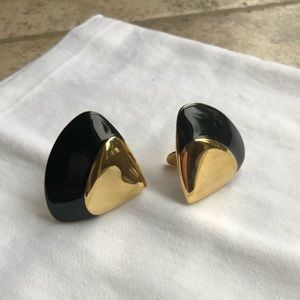 Monet Black Enamel and Gold Tone Earrings